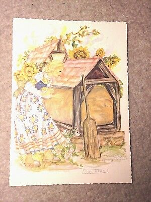 Retro watercolour rare postcard 1961 fairytale Old Mother Frost=Frau Holle Grimm