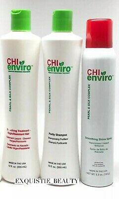 CHI enviro Smoothing treatment kit Colored Chemically Treated SHAMPOO, SPRAY,SER