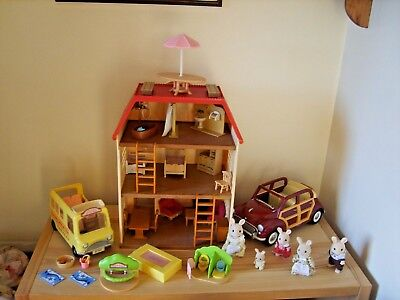 sylvanian families cedar terrace,car,nursery bus plus figures and extras