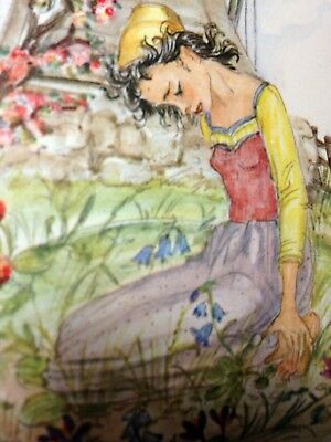 Retro watercolour 1961 Grimm fairytale Girl Without Hands or With Silver Hands
