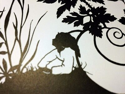 Vintage postcard silhouette Tom Thumb Daumesdick - home decor, craft, collection
