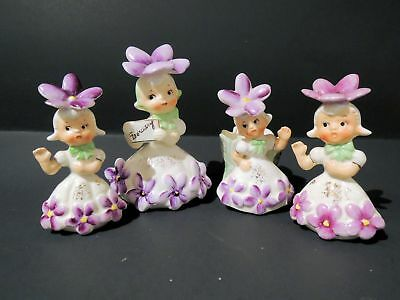 Vintage NAPCO February Violets Flower Girl & Bobby Pin Dish & Matching S&P