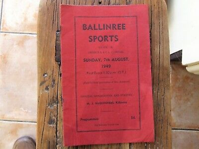 Old Irish Sports Programme Tipperary Carlow Bagnelstown
