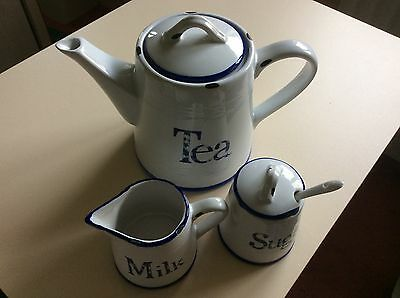 Mock Enamel Pottery Teapot, Jug And Sugar Basin With Spoon