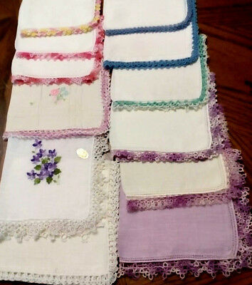 LOVELY VINTAGE HANKIES Lot MOST TATTED Few Crochet AUSTRIA Embroidery EXCELLENT