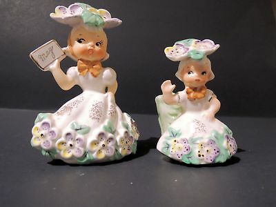 Vintage NAPCO May Pansies Flower Girl of the Month  & Matching Bobby Pin Dish