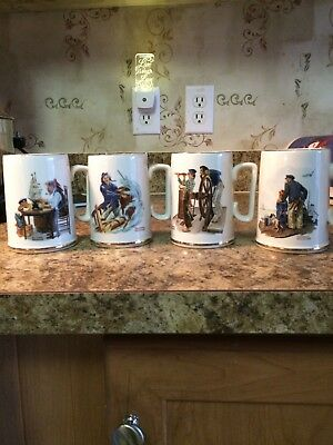 Norman Rockwell Gold Rimmed Coffee Mugs Set Of 4