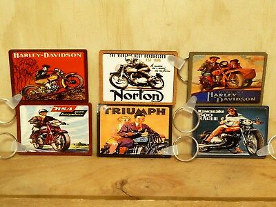 Key Rings - 6 X Vintage Motorcycles - 65Mm X 45Mm - Double Sided
