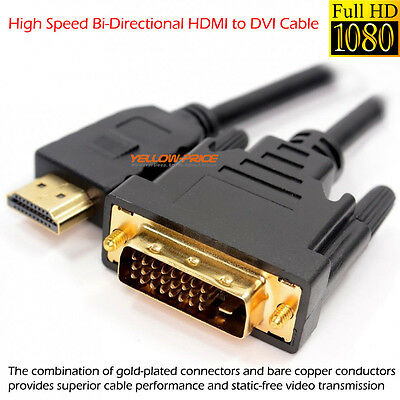Gold Plated Plug V1.4 HDMI to DVI Adapter Cable - 10 Feet (3 Meters)