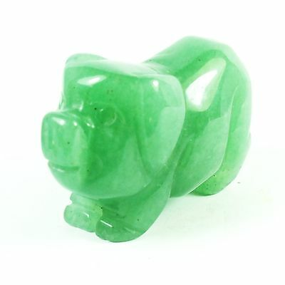 Pig Carved In Aventurine Green (EA2320M) gem stone reiki healing carving farm
