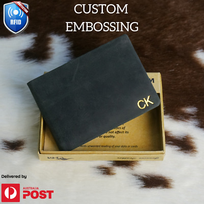 Personalised Genuine Leather Black Wallet Custom Monogram Men's Gift Men AU