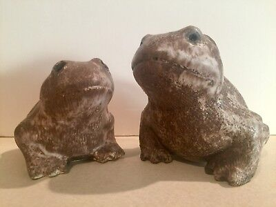 Vintage older McCarty Pottery Pair of Nutmeg Frogs W/Cobalt Wash signed