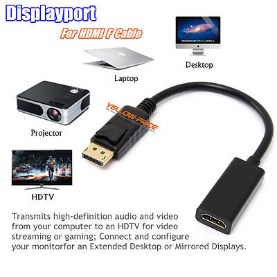 Hot DP Male to HDMI Female Adapter Cable Converter PC HP/DELL HDTV DisplayPort