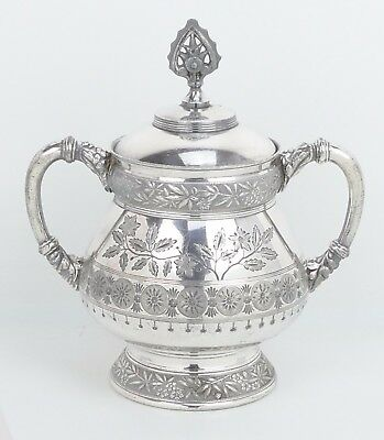 Antique Silver Plate ~Rogers Bros~ East Lake Etched Handled Jar w/ Lid VICTORIAN