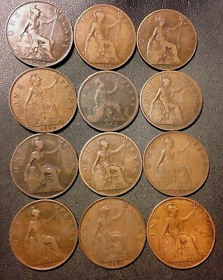 Vintage Great Britain Coin Lot - 12 OLD Large Pennies - 1862-1920 - Lot #D8
