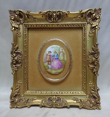 Signed Fragonard Vintage French Lovers Oval Picture in Gold Antique Style Frame