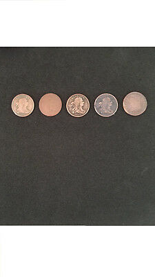 Lot of 5 1/2 Cent Coins. 2 Draped Bust 1803s, 1 1804, 1 1806 and 1 1809 Classic