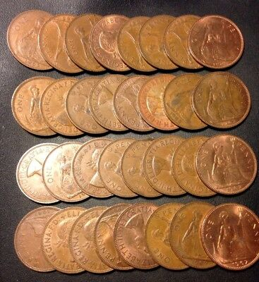 Vintage Great Britain Coin Lot! 32 Excellent QEII Large Pennies - Lot #D8