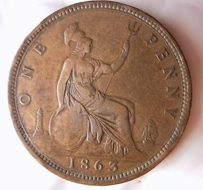 1863 GREAT BRITAIN PENNY - KEY DATE HIGH VALUWE Hard to Find Coin - Lot #D8