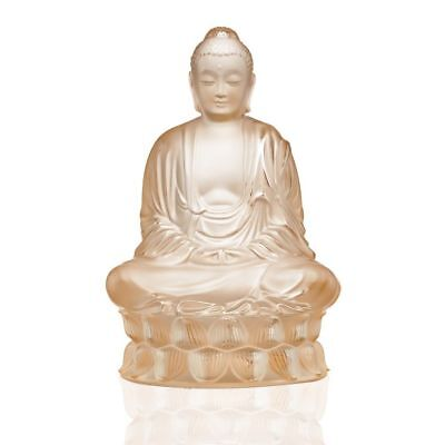 Lalique Buddha Crystal Sculpture Gold Luster French Art Glass signed Mint in Box