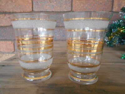 2 Vintage Gold And Frosted Drinking Glasses E.c.