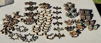 Antique BRASS Drawer Pulls Mixed Chippendale/ Batwing / handles/ SCREWS/TOE CAP