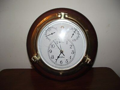 Seth Thomas Wood And Brass Nautica Wall Clock W/ Thermo And Hygro Working