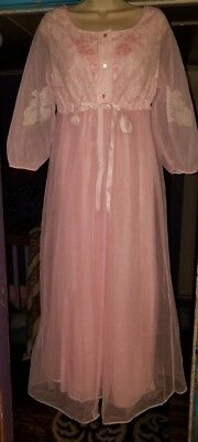 Vtg 70's Large Movie Star Pink Chiffon Lace Peignoir Lingerie Robe Nightgown Set