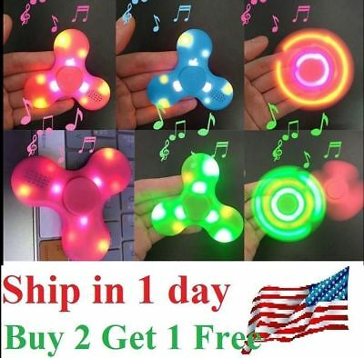 Fidget Hand Spinner with LED LIGHT & Bluetooth Speaker, Relieve Stress, AUTISM