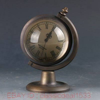 Vintage Collectible Old Chinese Brass Handwork Mechanincal Globe Clock PA0797