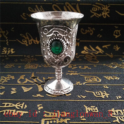 Exquisite Chinese Handmade Miao Silver Inlaid Zircon Green Goblet Wine cup