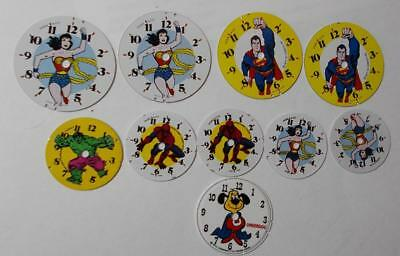 Lot of 10 New Old Stock Comic Character Wrist Watch Dials for Repair or Crafts