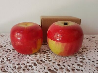 Vintage wooden mini tea set in an apples. Made in Japan