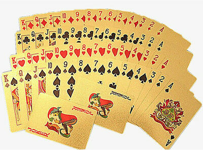 Playing Cards Waterproof Plastic Plated Gold Foil Deck Magic Card Poker Cards