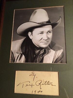 Tex Ritter Signed Cut, Matted With Photograph