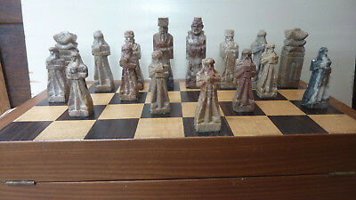 Vintage Korean Stone Chess Set with original box/board