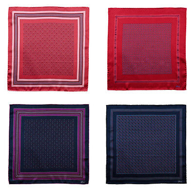 Mens BRIONI Red Purple Hand-Rolled 100% Silk Pocket Square Handkerchief Lot of 4