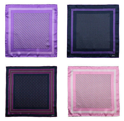 BRIONI Purple Pink Hand-Rolled 100% Silk Pocket Square Handkerchief Lot of 4