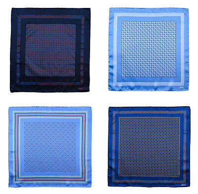 Men's BRIONI Blue Hand-Rolled 100% Silk Pocket Square Handkerchief Lot of 4