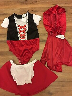 3 Piece Little Red Riding Hood Costume, Toddler Girls Clothes, 2T