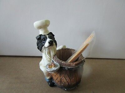 dog pet animal statue chef toothpick holder border collie
