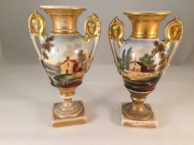 Pair Of Antique 19C Old Paris French Porcelain Handpainted Scenic Empire Urns