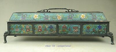 Old Chinese Dynasty Cloisonne Bronze Beast Head Flower Box incense burner Censer