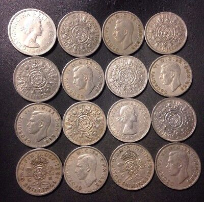 Vintage Great Britain Coin Lot - 16 EXCELLENT FLORINS - Lot #D9