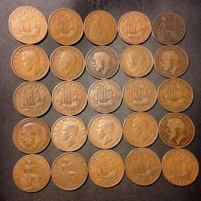 Vintage Great Britain Coin Lot - 25 Great Half Pennies - 1876-1967 - Lot #D9