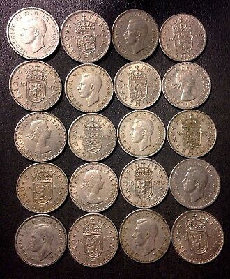 Vintage Great Britain Coin Lot - 20 SHILLINGS - Excellent Coins - Lot #D9