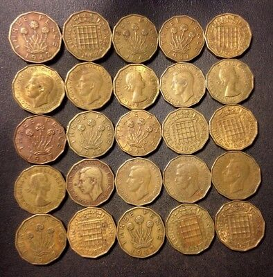 Vintage Great Britain Coin Lot! 1937-1967- 3 PENCE - 25 Excellent Coins - #D9