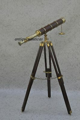 Marine Nautical Navy Telescope With Wood Tripod Stand Brass Cf653