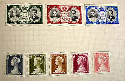 Group Lot Of Old Stamps, 8 Different, Monaco, Pricess Grace & Rainier All Mint