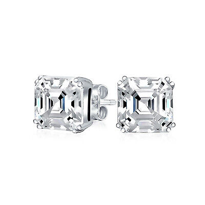 4 CT Solitaire Square Asscher Cut Cubic Zirconia Stud Earrings Sterling Silver